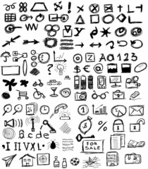 Big set doodle business icons