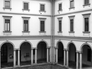 Old palace facade B&W image