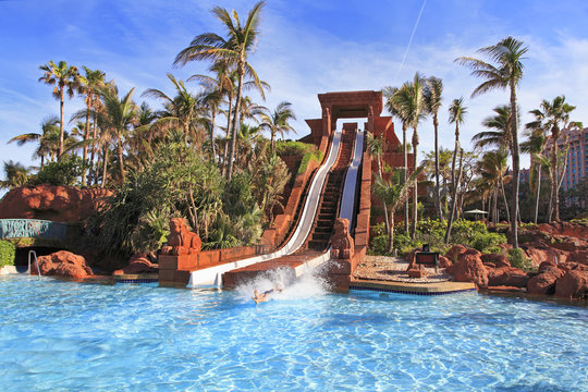 The water slide structure in Paradise Island, The Bahamas.
