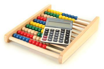 Bright wooden toy abacus and calculator, isolated on white