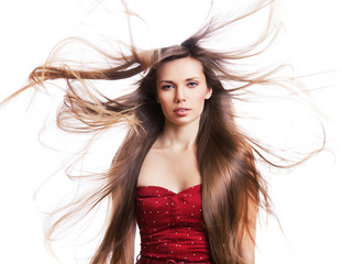 young woman with long dynamic hair