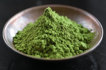Powdered Matcha tea in a bowl