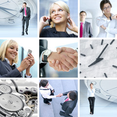 A collage of business images with people talking on phone