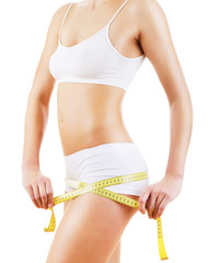 healthy attractive body with tapemeasure