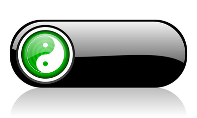 ying yang black and green web icon on white background