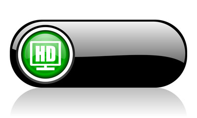 hd display black and green web icon on white background
