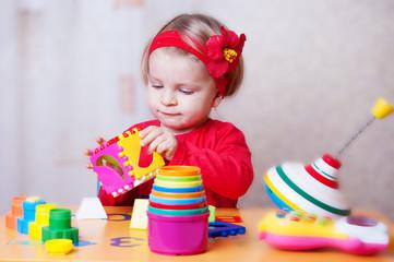 Baby girl playing sorter