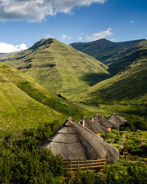Rondavels in the Maluti Mountains of Lesotho