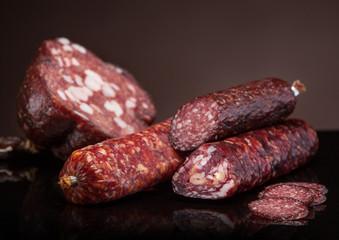 various salami sausages