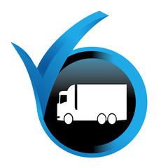 Fototapete - camion sur bouton validé bleu