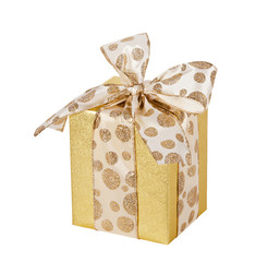 Golden gift wrapped present isolated over white