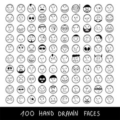 Huge set of hand-drawn funny cartoon faces.