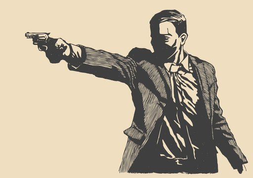 man with revolver pistol
