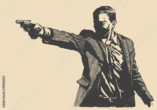 Wall mural man with revolver pistol