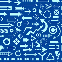 Various arrows blue seamless pattern