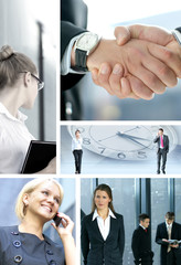 A collage of business images with people and handshakes