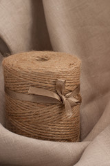 coil of rope on cloth