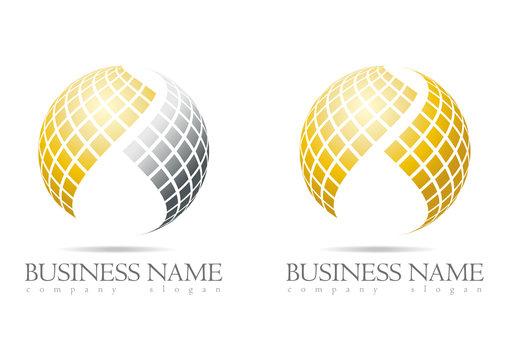 Business logo 3D gold sphere design