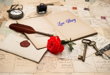 open diary book, vintage accessories and love letters