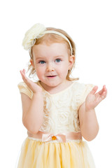 happy playful child girl on white background