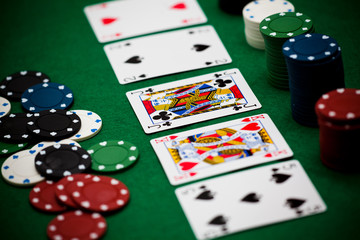 Poker (cards and coins)