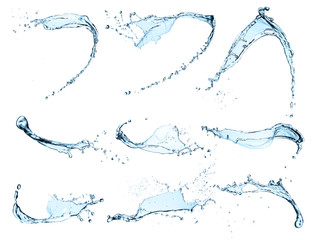 Wall Mural - Collection of water splashes on white background