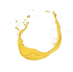 Isolated shot of yellow paint splash on white background