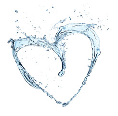 Heart symbol made of water splashes on white background