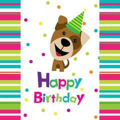 Vector birthday card with a dog
