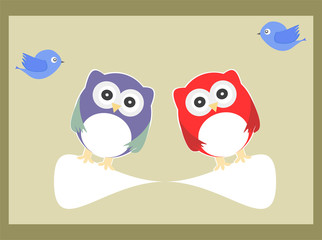 Owls and birds in baby boy invitation card
