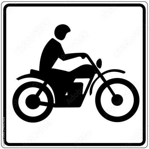 Fototapete Schild weiß - Motorradfahrer