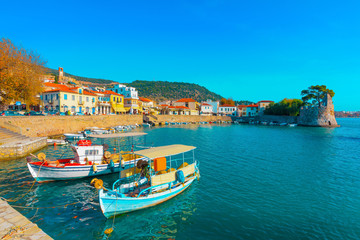Greece Nafpactos main port side view, Central Greece