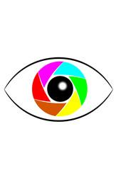 Auge mit bunter Linse