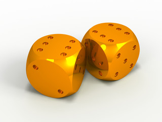two gold dice