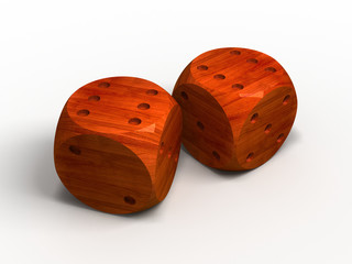 two wood dice