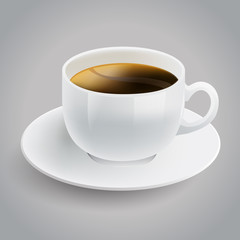 realistic white cup of black coffee