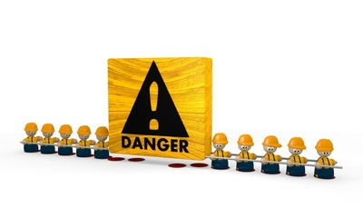 builder Danger Symbol with cute tiny man