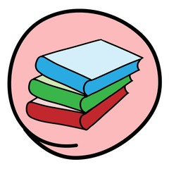 Pile of Books on Round Pink Background