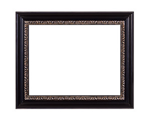 Black wooden picture frame with metal ornament