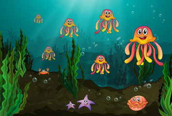 Wall Murals Submarine Underwater creatures
