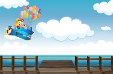 Spoed Fotobehang Vliegtuigen, ballon A boastful monkey flying on a plane