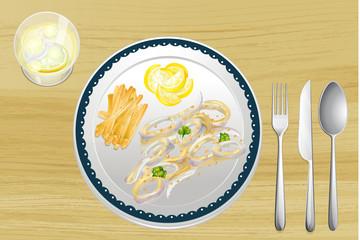 Calamari and fries