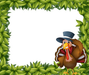 A turkey and the leafy frame