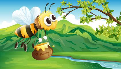 A bee bringing a honey