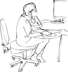 a sketch a girl sits and works at the computer
