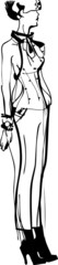 a sketch of beautiful slip of a girl is in pantaloons