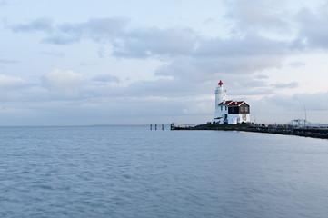 Printed roller blinds Horses Marken Lighthouse at Dusk