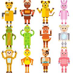 Spoed Foto op Canvas Robots A set of colorful and cute vector Icons : Twelve Zodiac Robots