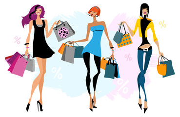 Tthree women with shopping bags