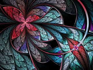 Colorful fractal flower or butterfly, digital art design